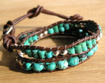 Leather Double Wrap Bracelet Turquoise and Karen Hill Tribe Thai Silver beads