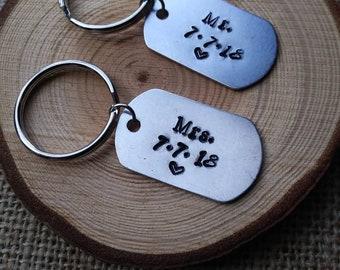 Anniversary keychain / wedding gift / mr and mrs