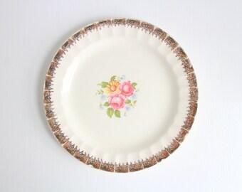 Vintage Ring Dish, Floral Ring Dish, Flower Ring Dish, Pink Ring Dish, Rose Ring Dish, Trinket Dish, Ring Dish, Pink & Cream, Gold Ring Dish