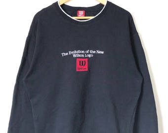 Vintage Wilson Embroidered Big Logo Spell Out The Evolution Of The New Wilson Jumper Sweatshirt