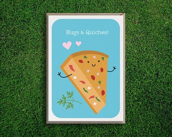 Greeting Cards | Hugs & Quiches Card, Anniversary, Friendship, Cute, Silly, Quirky, Pun, Love, Valentine's day, Boyfriend, Girlfriend, Funny
