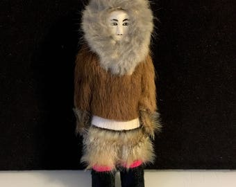 Inuit Carved Horn and Fur Doll