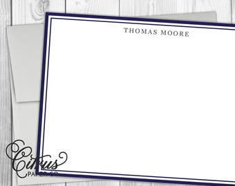 Men's Stationery - Stationary - Flat Note Cards - Masculine Simple Navy Blue Preppy Border Gray Business Husband Gift Idea First Anniversary