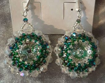 Swarovsky rivoli beaded drop earrings.