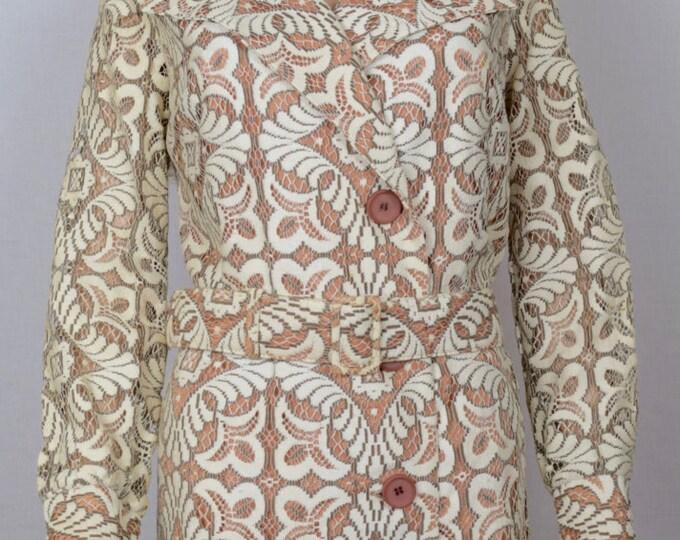 Vintage 1970's Women's Young Edwardian Arpeja Designer Women's Nude Illusion Crocheted Lace HiPPiE BoHo Spy Trench Dress Coat Jacket M