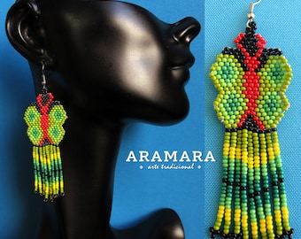 Butterfly Earrings, Mexican folk art, Native american earrings, Beaded butterfly, Mexican earrings,Mexican Jewelry,Huichol Earrings, AO-0190
