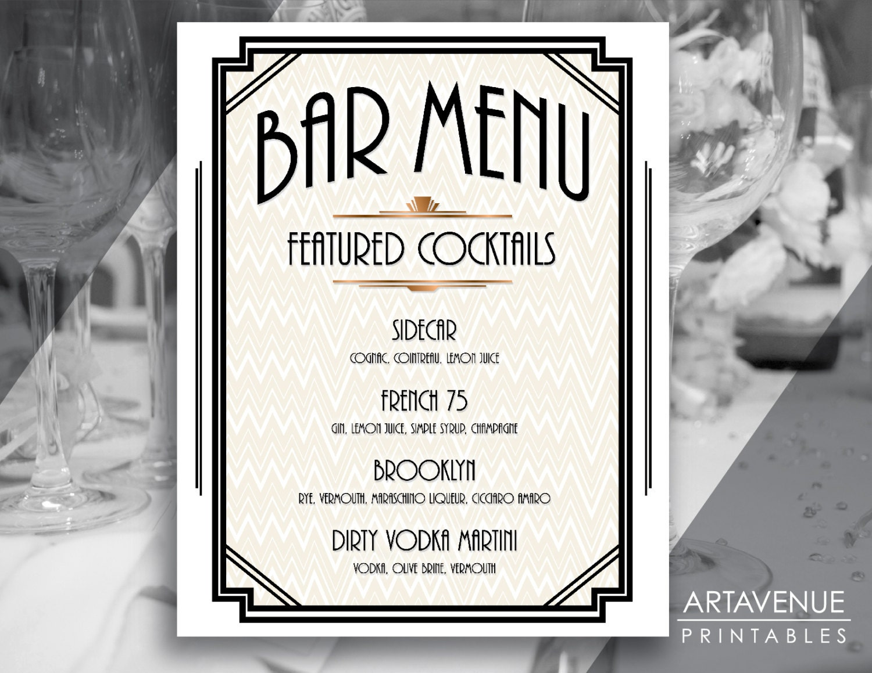 Custom BAR MENU Sign Printable Art Gatsby Bar Menu Gatsby