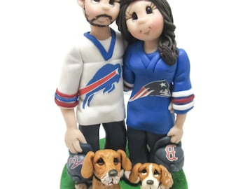 Custom cake topper, Sports Fans wedding cake topper, Bride and Groom with pets cake topper, Mr and Mrs cake topper, personalized cake topper