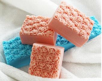 Rose rectangular soap mold, silicone cake mold, toast, baking molds, baking tools, chocolate mold household kitchen