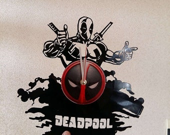 DEADPOOL MARVEL Vinyl Record CLOCK === size ===12 inches=== Best gifts for kids bedroom decor Your man will love it