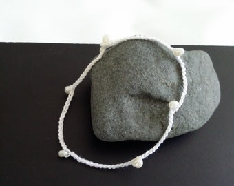 White crochet bracelet and pearl beads, Bohemian chic trend