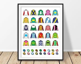 Wall prints, Jockey silks print,  Digital Download, Horse racing, Horse wall art, Equestrian decor, Hat uniform, Printable poster, Equine