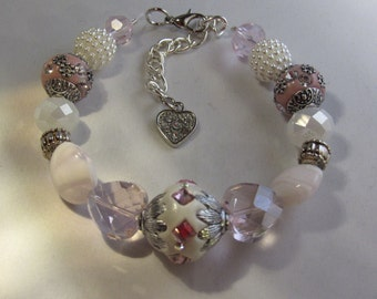 Pink Hearts and White Beaded Bracelet