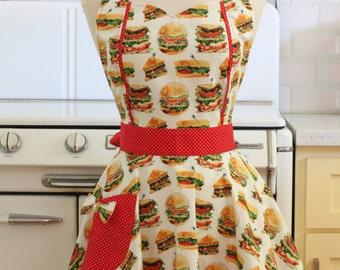 Retro Apron Burgers and Sandwiches on White - MAGGIE