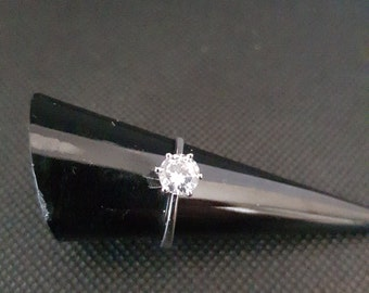 14k white gold ring with lab made diamond