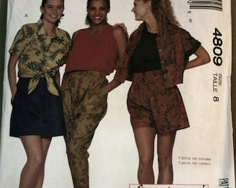 McCalls 4809  Misses Shirt, Shorts,Pants Sewing Pattern Size 8