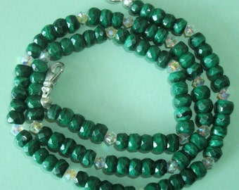 Gemstone Jewelry Necklace - Malachite and Swarovski Crystal Gemstone Beaded Necklace