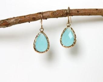 Ocean Blue Earrings - Gold Dangle Earrings - Stone Earrings - Drop Earrings - Birthstone Earrings - Chalcedony Earrings - Gold Earrings