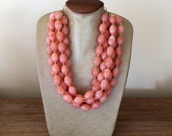 Coral Statement Necklace- Statement Necklace Coral Necklace Gold Necklace