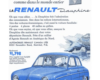 1959 Renault Dauphine Poster Size Ad