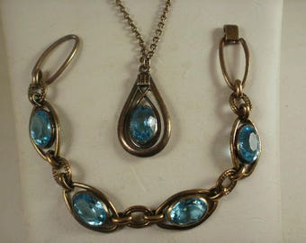 Vintage Simmons Blue Glass Bracelet and Necklace Set
