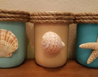 Beach Home Decor pint sized Mason jars choose from 3 nautical rope and genuine seashells and starfish Housewarming gift party decor ocean