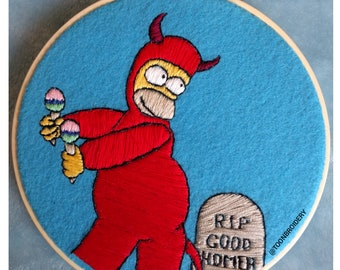 Evil Homer Simpson Embroidery Hoop Collectable Art
