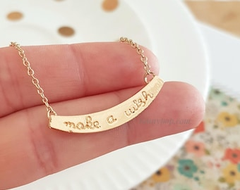 Make a Wish Necklace - Bar Necklace - Wish Jewelry - Birthday Gift - Anniversary - Dainty Chain - Silver - Gold - Gift Ideas - Gift for her