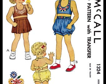 McCall 1324 2pc Midriff Sunsuit Playsuit Fabric Sewing Pattern Vintage 40s Embroidery Beach Sun Suit *REPRODUCTION* Toddler Childs' size ~4~