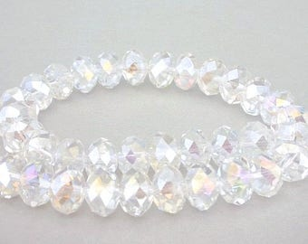 16 clear 10mm crystal beads, slight AB faceted rondelles, 10mm clear Chinese crystal