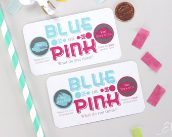 10 Baby Gender Reveal Scratch Off Cards - Pink & Blue Guess The Gender