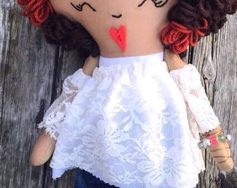 Balck rag doll, brown rag doll, Afro hair, lace, denim, baby doll, textile doll, gift for her, handmadedoll, fabric doll, cloth doll