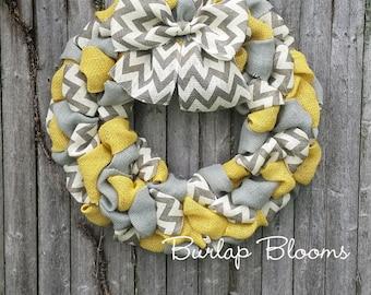 Chevron Wreath, Burlap Wreath, Year Round Wreath, Yellow and Gray Wreath, Front Door Wreath