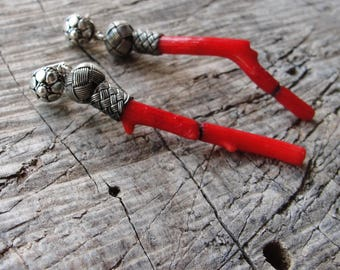 Long Coral Earrings, Sterling Silver Earrings Red Coral, Celtic Knot, Hand knotted Kazaziye woven Fine Silver Oxidized with Red Coral