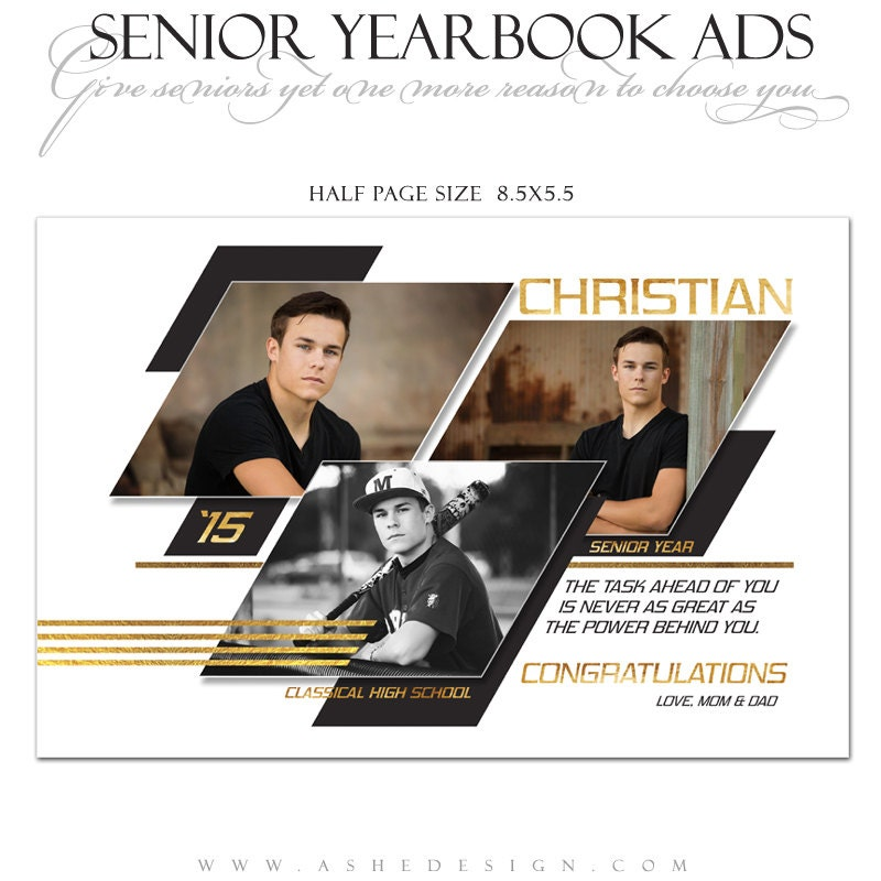 Anuario Senior anuncios Photoshop plantillas - geométrica - High ...