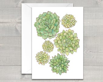 Spring Succulents Watercolor Greeting Card