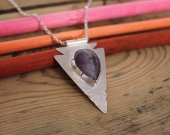 Amethyst arrow necklace