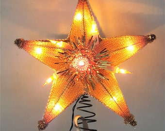"""1960s Gold Star Christmas Tree Topper, 8"""" wide, Mid Century Christmas Decor"""