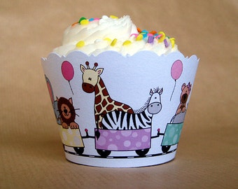 zoo train girl birthday party cupcake wrappers decorations in pastel girl colors - set of 12
