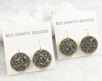 Circle Pyrite Earrings | Antique Silver Plated | Antique Gold Plated | Natural Stone | Fools Gold