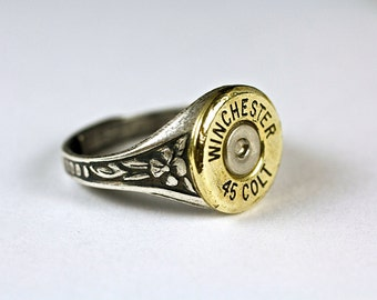 Bullet Ring CUSTOM Adjustable Steampunk Victorian Jewelry Spent Shell Casing Cut Many OPTIONS AV Winchester Ring for Her for Gift for wife