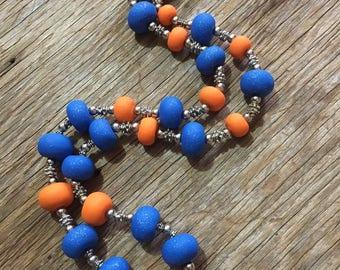 Scuttled - Handmade Bright Orange & Blue Statement Necklace
