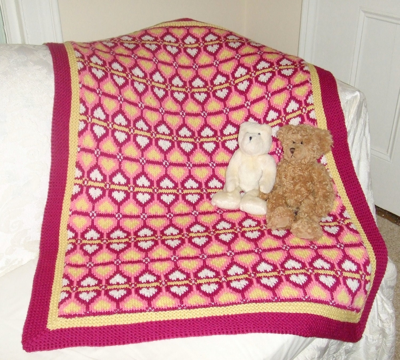 Knitting Pattern-Sweetheart Baby Blanket, knit Fair Isle baby ...