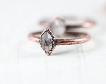 Tiny Herkimer Diamond Ring Copper Ring Tibetan Quartz Ring Midi ring