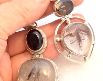 Tourmalated Quartz & Black Onyx Pendant.  Hinged, Sterling Silver,  Teardrop, Energy Stone.  free US ship 74.00
