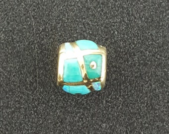 14K Gold Turquoise Barrel Bead ~ Fits Pandora