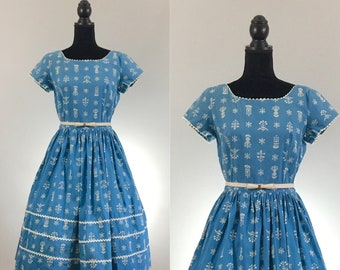 Ric Rac Floral Vintage Cotton Dress, Vintage Day Dress, Blue Vintage Dress, Ric Rac, VLV Dress, 1950's Dress, Rockabilly Dress, Medium
