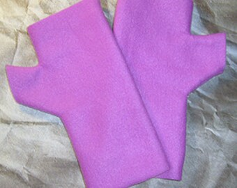 Fleece Fingerless Gloves, Dark Orchid Hand Warmers, Medium Girl Mitts