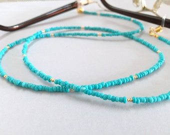 Turquoise Seed Beads and Gold Eyeglasses Chain, Eyeglass Chain, Green Eyeglass Chain Lanyard, Beaded Eyeglass Necklace,Eye Glass Chain