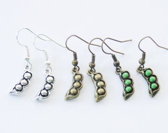 Peas in a pod earrings, Pea pod earrings, Food earrings, Peas in a pod jewelry, Food Jewelry, Choose your finish